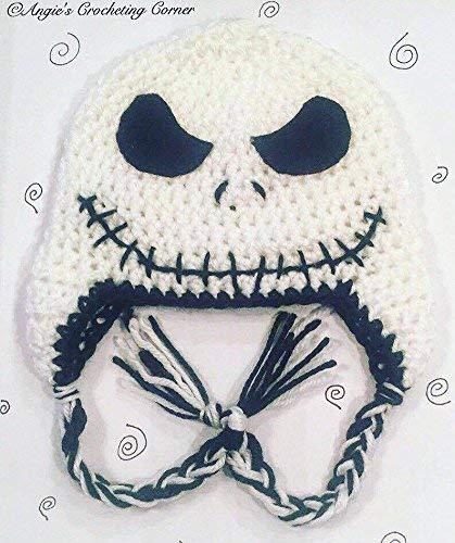 Crochet Jack Skellington Flap Hat, Halloween Hat, The Nightmare Before Christmas Hat, skull face hat, all sizes
