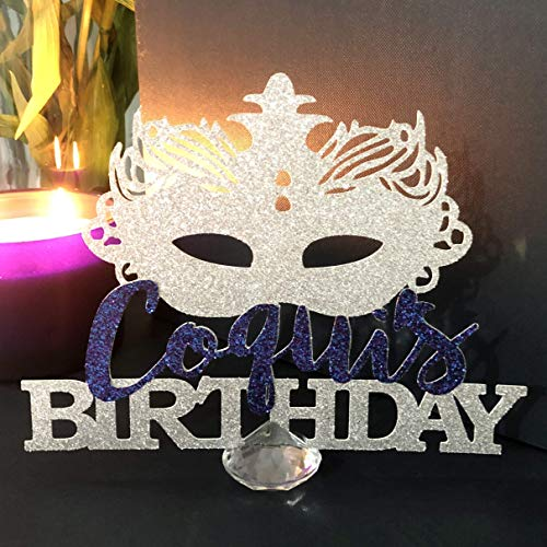 Mardi Gras Mask Personalized Centerpiece, Masquerade Ball Centerpiece, Masquerade Party Decoration, Venetian Masquerade Mask Table Names]()