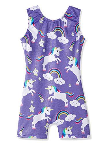 DAXIANG Unicorn Leotards for Girls Gymnastics Biketards Sparkle Unicorn Black and Blue (Purple Unicorn, 110(4-5Years))