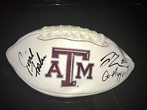 Trayveon Williams & Jimbo Fisher Signed Autograph Texas A&M Logo Football - Autographed College Footballs