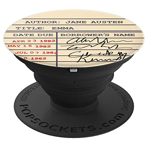 Library Card Checkout Emma Gift for Jane Austen Fans - PopSockets Grip and Stand for Phones and Tablets