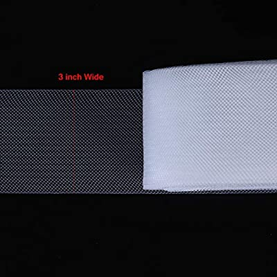 2 Inches Width Honoson 50 Yards White Polyester Boning Stiff Polyester Horsehair Braid for Sewing Wedding Dress and Formal Gowns