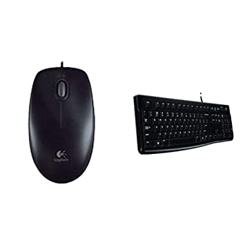 5a0d4f74e3e Logitech B100 Optical USB Ambidextrous Mouse for Windows, Mac and Linux -  Black + Logitech K120 Keyboard for Windows and Linux - QWERTY, UK Layout:  ...