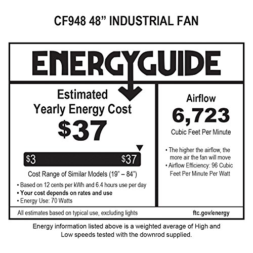 Emerson Ceiling Fans HF948BS industrial Fan, Indoor Ceiling Fan With 48-Inch Blades, Brushed Steel Finish by Emerson (Image #1)