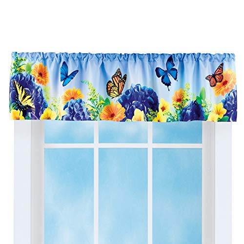 Collections Etc Blue and Yellow Butterfly Gardens Window Valence - Spring Decor for Bathroom