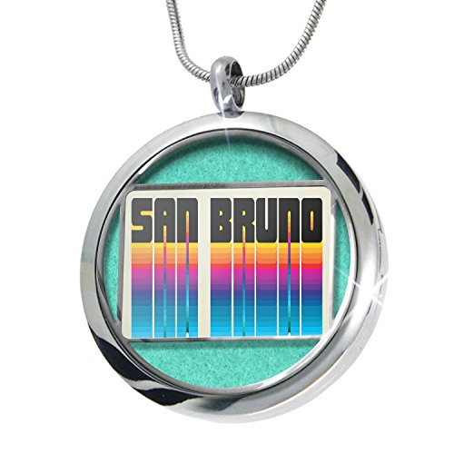 NEONBLOND Retro Cites States Countries San Bruno Aromatherapy Essential Oil Diffuser Necklace Locket Pendant Jewelry Set