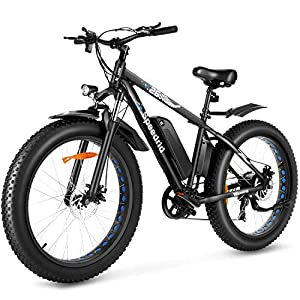 Speedrid Electric Bike 48V 500W Fat Tire Electric Bike Snow Bike 26″ 4.0, 48V 10Ah Removable Battery and Professional 7 Speed
