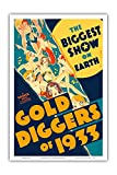 Gold Diggers of 1933 - The Biggest Show on Earth - Musical Starring Warren William and Joan Blondell - Vintage Film Movie Poster c.1933 - Master Art Print - 12in x 18in