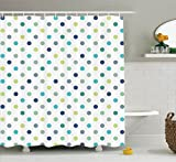 Polka Dot Curtains Polka Dots Extra Long Shower Curtain by Ambesonne, Polka Dots Timeless Fashion Classy Vintage Fabric Design Pattern, Fabric Bathroom Curtain, 84 Inches Extra Long, Navy Turquoise Dimgray Green Teal