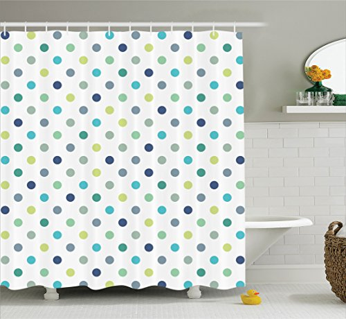 Ambesonne House Decor Shower Curtain Set, Polka Dots Timeless Fashion Classy Vintage Fabric Pattern Design Style, Bathroom Accessories, 75 Inches Long