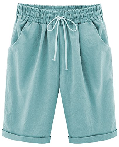 Ladies Bermuda Shorts - HOW'ON Women's Casual Elastic Waist Knee-Length Curling Bermuda Shorts with Drawstring SkyBlue M