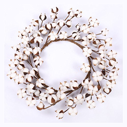 Cotton Wreath - 18''- 23'' Adjustable Stems for Front Door Festival Hanging Decorations Welcome Decor Made from Real Natural White Cotton Flowers Bolls by Darget