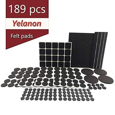 Yelanon Furniture Pads, Felt Pads Furniture Feet 189 Piece Premium Pack- Non Slip Furniture Felt Pad,Best Wood Floor Protectors. Non Skid Furniture Grippers Protect Your Hardwood & Laminate Flooring