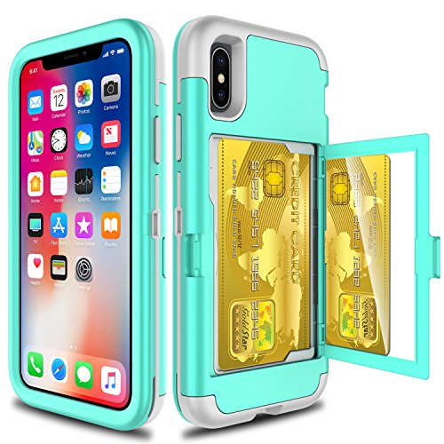 Elegant Choise Compatible with iPhone Xs Case, iPhone X Case, Wallet Case with Hidden Back Mirror 3 in 1 Heavy Duty Shockproof Armor Defender Protective Case Cover with Card Slot Holder (Green)