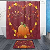 Gorgeous Thanksgiving Autumn Pumpkin and Leaf Heart Waterproof Polyester Fabric Shower Curtain (60' x 72') Set with 12 Hooks and Bath Mats Rugs (23.6' x 15.7') for Bathroom - Set of 2