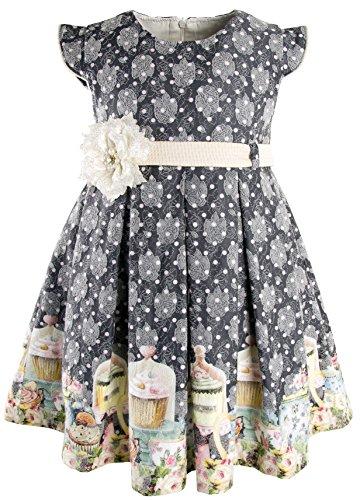 Lilax Little Girls' Polka Dot Princess Cupcake Print Dress 2T Navy