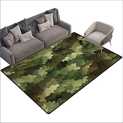 Door Rug for Internal Anti-Slip Rug Camo Frosted Glass Effect Hexagonal Abstract Being Invisible Woodland Print Non-Slip Door mat pad Machine can be Washed W70 xL110 Green Pale Green and Brown