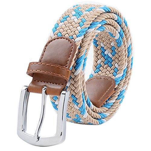 Stretch Belt, Vonsely Elastic Belts Braided Fabric Belt Colorful Woven Belts for Men and Women, Blue-Beige Color