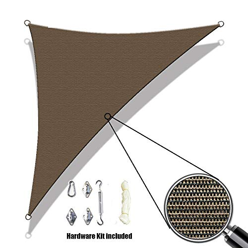 Alion Home Custom Sized Right Angle Sun Shade Sail with 6 Stainless Steel Hardware Kit – Right Triangle 10 x 10 x 14 , Mocha Brown