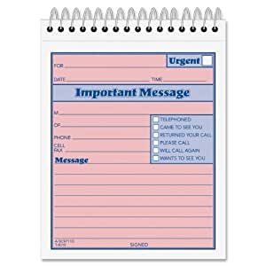 Adams While You Were Out Pad, 4 x 5.5 Inch, Spiral Bound, 2-Part, Carbonless, Pink and Canary, 50 Sets per Book (SC9711D)