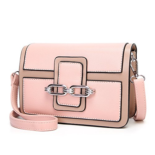 Stitching Pink FangYOU1314 Black Spring Messenger Portable Women's Temperament PU Shoulder Color Bag OO4PqZ6