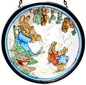 Decorative Hand Painted Stained Glass Window Sun Catcher/Roundel in Beatrix Potter's Mrs Rabbit with Flopsy Bunnies and Peter in their Burrow