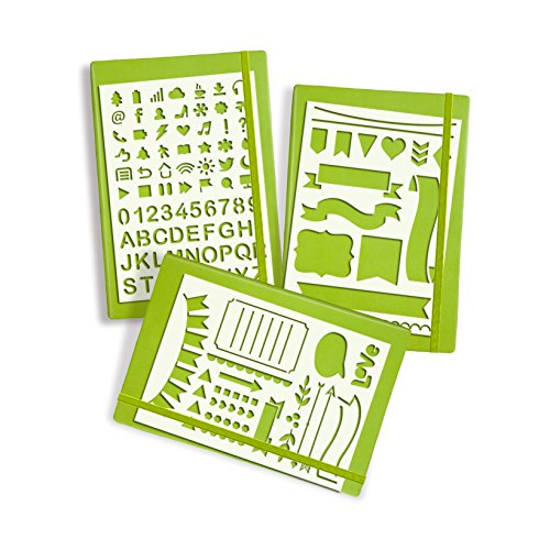 Deoot 3 Pcs Bullet Journal Stencil Set Planner Stencil for Journaling, Scrapbooking, Card and Art Projects