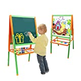 Liuzecai Educational Toys Folding Wooden Art Easel Deluxe Easel for Kids with Chalkboard Whiteboard and Storage Bins or Tray Standing Easel with Magnetic Letters for Early Education