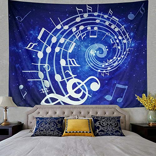 LONGBF Music Tapestry Wall Hanging Blue Music Note Wall Tapestry Hippie Bohemian Psychedelic Mandala Tapestry for Bedroom Home Dorm Decor 60X50 -