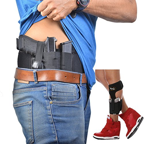 Belly Band Holster+Ankle Holster by YoGi Prime.Concealed Carry IWB UNIVERSAL FIT Adjustable for most Waist size,For Small&Mid-Size hand GUNS Neoprene Holder Pistols,Revolvers For Men and Women