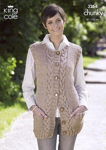 King Cole Ladies Waistcoat Slipover Chunky Knitting Pattern 3254