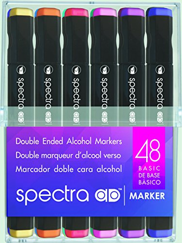 Chartpak Spectra AD Marker, Tri-Nib and Brush Dual-Tip, 48 Assorted Basic Color Set in Hard Plastic Cubes, 1 Each (SBASIC48AD) from Chartpak, Inc.