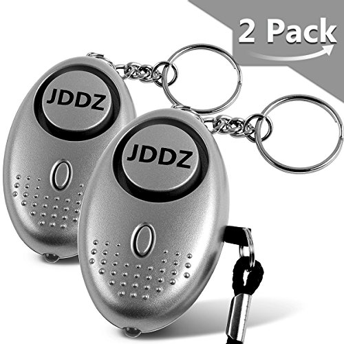Personal Alarm, JDDZ 140 db Safe Siren Song Emergency Self Defense Protection Device Anti-Rape/Anti-Theft Security With Mini LED Flashlight for Women, Kids and Elderly 2 Pack (Silver) by JDDZ