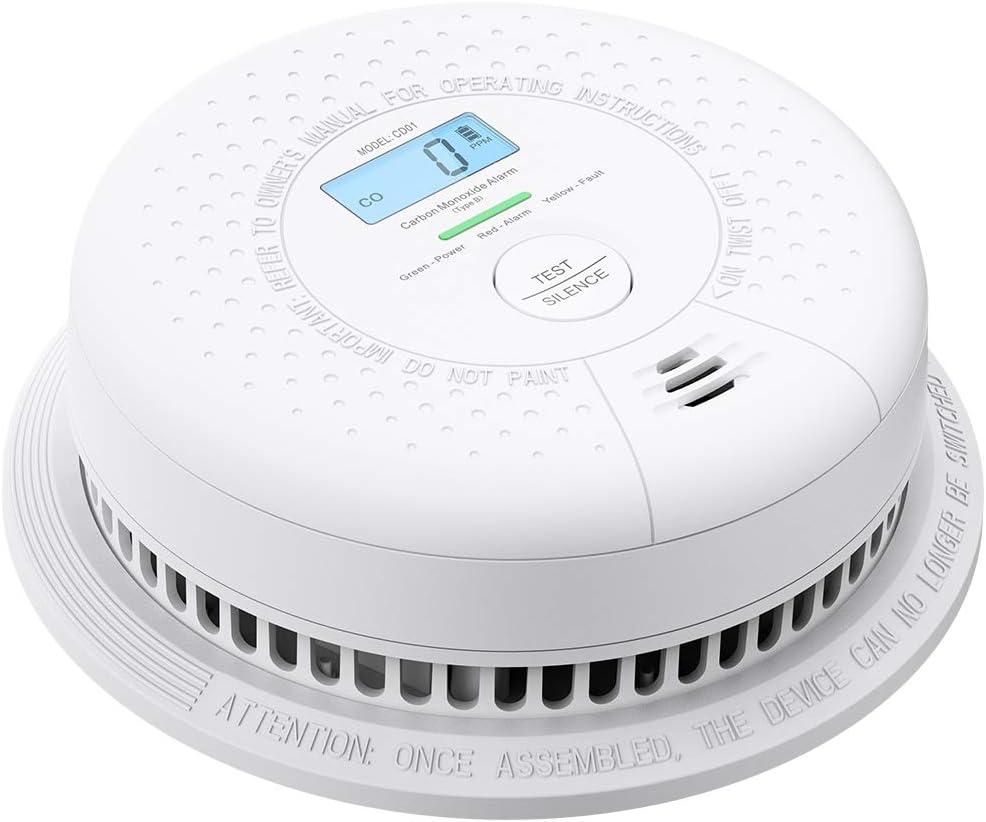 X-Sense Alarma de Monóxido de Carbono con Pantalla LCD, Batería con duración 10 Años, Fácil Instalación, Comprobación Automática, CD01