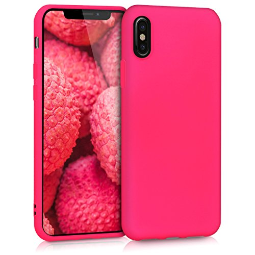 kwmobile TPU Silicone Case for Apple iPhone X - Soft Flexible Shock Absorbent Protective Phone Cover - Neon Pink