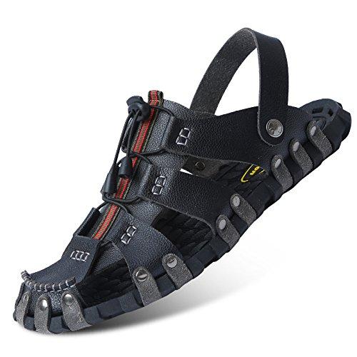 Bluelover Chaussures De Plage d'hommes Sandales Respirantes Refroidisseur D'Été Doux Chaussons Mâles - 8 - Noir Jaune vZcnUyZ4K