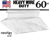 Heavy Duty White Wire Clothes Hangers, USA Made Vinyl Coated Hangers, Set of 60