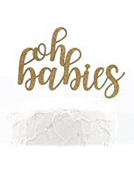 NANASUKO Twin Baby Shower Cake Topper - oh babies - double sided gold glitter - Premium quality Made in USA