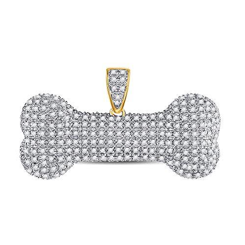 Dazzlingrock Collection 10kt Yellow Gold Mens Round Diamond Dog Bone Charm Pendant 3/4 Cttw Diamond Dog Bone Charm