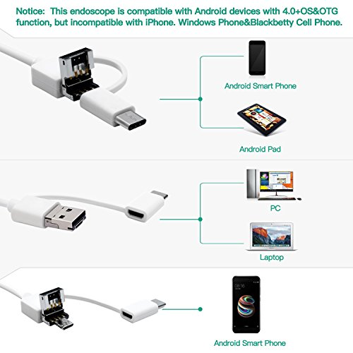 USB PC YSBER Ear Endoscope Camera Waterproof HD Borescope Inspection Camera Visual Earpick Tool with 6 Adjustable Led for Android Micro Type c Black