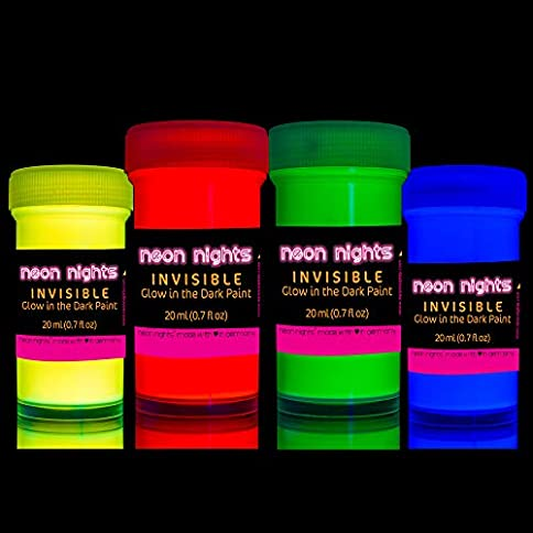 - 51Px36vTfNL - 'Invisible' Wall and Canvas Paints by neon nights- 4 Invisible UV Glow in The Dark Paint Cans – Vibrant Ultraviolet Paints Charge in The Daylight and Glow in The Darkness – 20ml Luminescent Cans