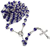 59pcs Rosary Beads Necklace Blue Crysatl Bead with Metal Cup Catholicism Religious Cross Jewelry