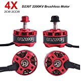 Drone Repair Parts - Crazepony 4pcs D2307 2307 2200KV Brushless Motor 2CW 2CCW 2-4S Lipo for FPV Racing Drone X210 220 280