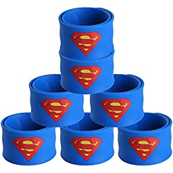 Justice League Superhero Slap Bracelet for Kids Boys & Girls Birthday Party Supplies Favors (7 Pack Superman)