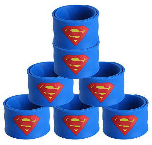 Justice League Superhero Slap Bracelet for Kids Boys & Girls Birthday Party Supplies Favors (7 Pack -