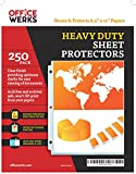 Heavy Duty Clear Sheet Protectors - 250 Pack, Reinforced Holes, 8.5 x 11 Inches, Acid Free/Archival Safe by Officewerks