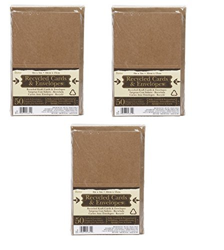 Darice Blank Stationery Cards and Envelopes, Kraft 4 in. x 5 in. 3 pack of 50 (150)