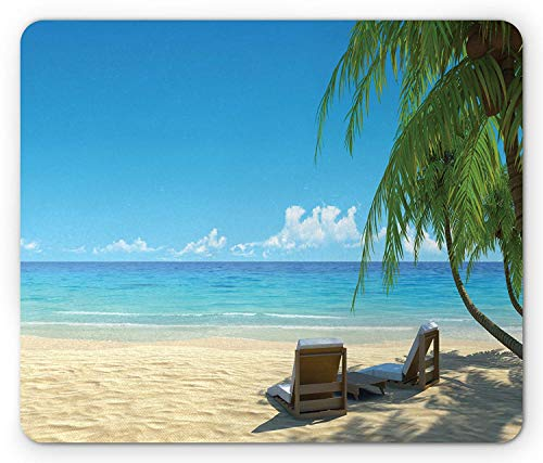 Tropical Mouse Pad, Two Beach Chairs on Sandy Shoreline Relaxing Shadow from The Palm Trees, Standard Size Rectangle Non-Slip Rubber Mousepad, Green Blue -