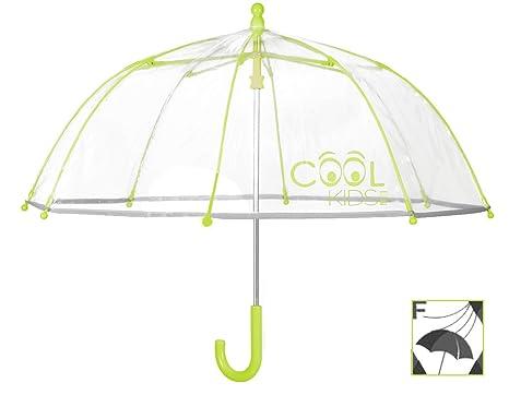 Perletti Cool Kids, Paraguas Transparente Niño y Niña, Paraguas de Burbuja Resistente, Antiviento