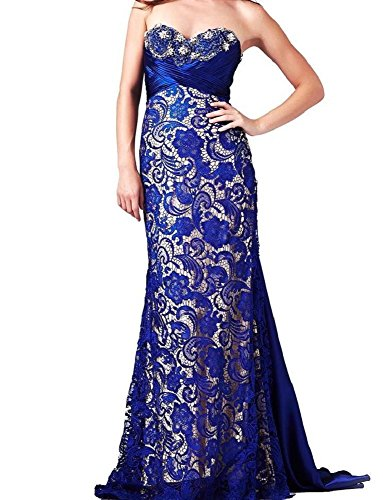 MAC DUGGAL COUTURE Women's Blue Nude Embellished Lace Strapless Gown Formal Long Dress Pageant Prom Bridal SZ 4 New